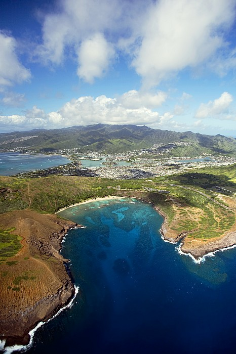 Above Photograph - Aerial Of Hanauma Bay by Ron Dahlquist - Printscapes