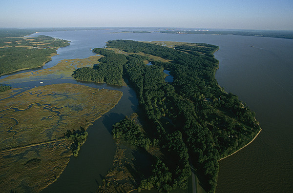 North America Photograph - Aerial View Of The James River by Ira Block