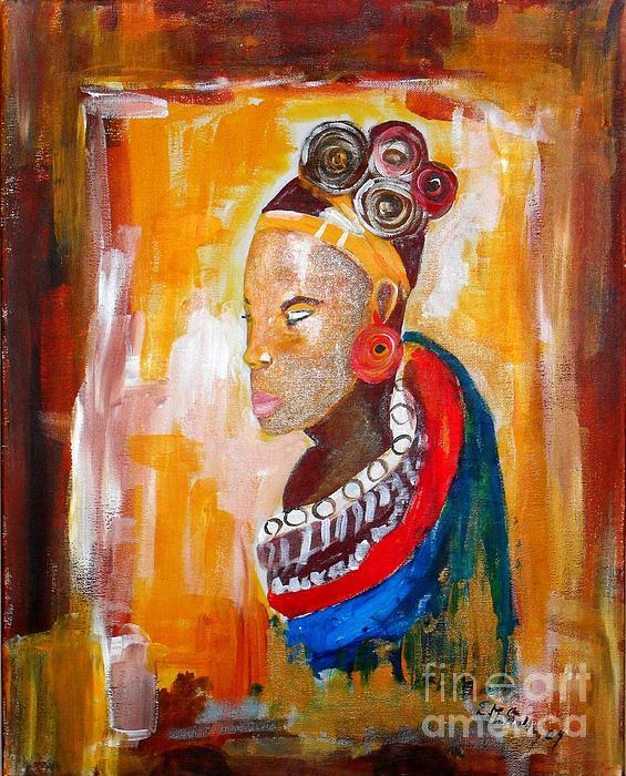 African Queen Painting - African Goddess by EvaMaria Stollmayer
