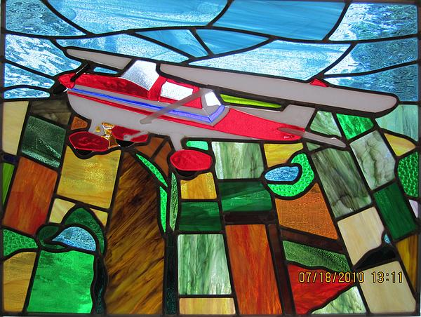 Stained Glass Painting - Airplane In Flight by Gladys Espenson