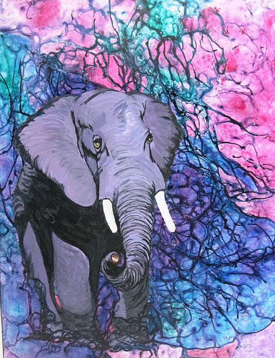 Elephant Painting - Alpha Bull by David Raderstorf
