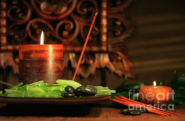 Asia Photograph - Amber Colored Candles by Sandra Cunningham