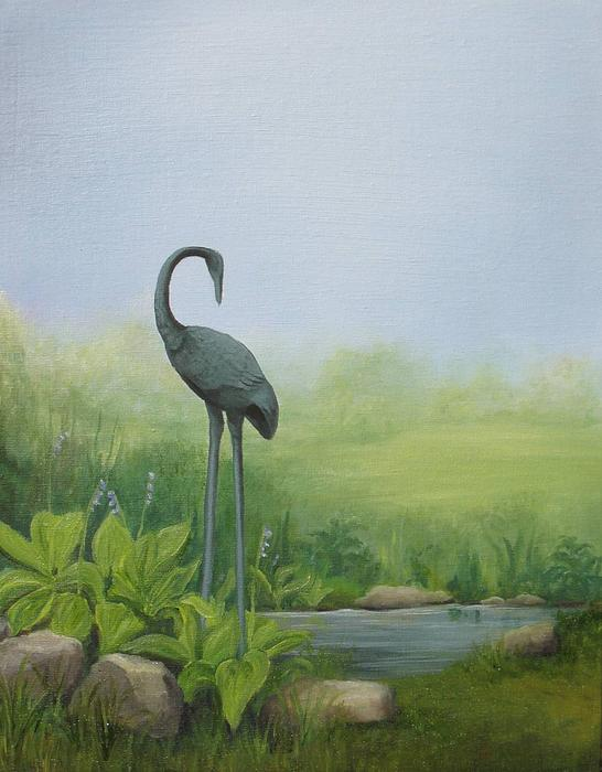 Crane Painting - Among The Hostas by Mary Rogers