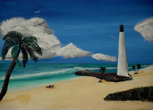 Landscape Painting - An Afternoon By The Lighthouse by Spencer Hudon II