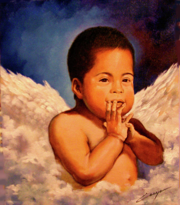 Portrait Painting - An Angel Called Wilfry by Victor Cuya