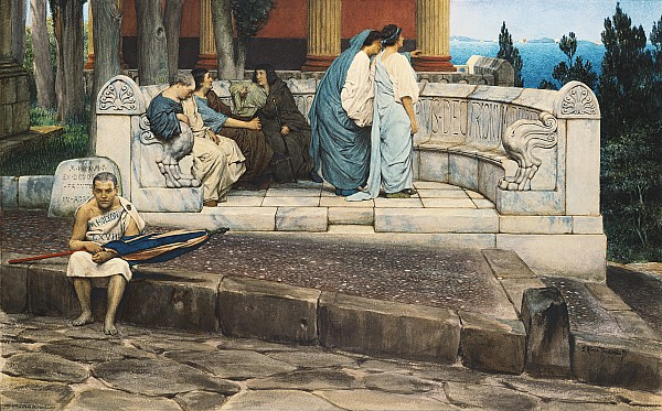 Exedra Painting - An Exedra by Sir Lawrence Alma-Tadema
