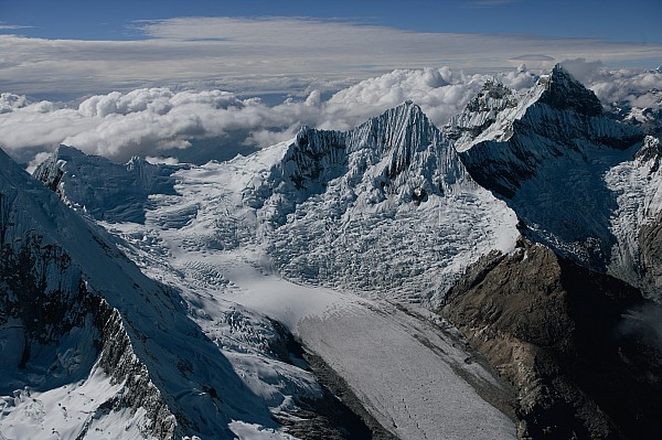 Cordillera Blanca Photograph - An Icy Ravine Between Glacial Peaks by Bobby Haas