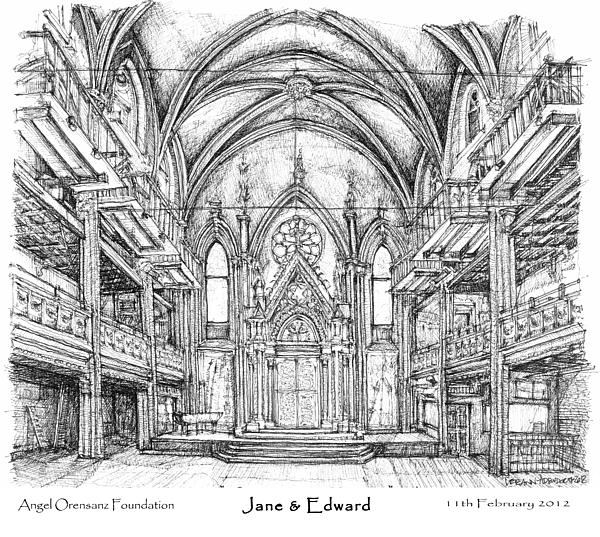 Angel Orensanz Jane And Edwards Wedding Drawing By Building Art
