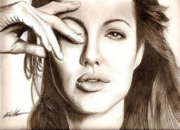 Angelina Jolie Drawing - Angelina Jolie by Michael Mestas