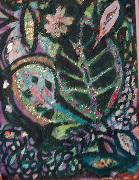 Green Painting - Anne Imagines Abstract Leaves by Anne-Elizabeth Whiteway