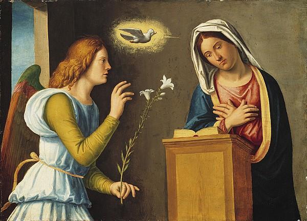 Annunciation Photograph - Annunciation To The Virgin by Giovanni Battista Cima da Conegliano