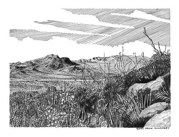 Anthony Gap New Mexico Texas Drawing by Jack Pumphrey