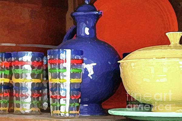 Altered Photograph - Antique Fiesta Dishes 3 by Marilyn West