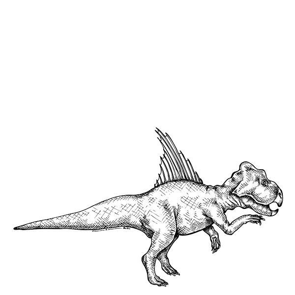 Cartoon Drawing - Archaeoceratops - Dinosaur by Karl Addison