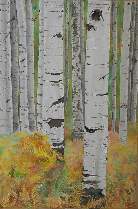 Trees Painting - Aspens And Bracken by Laurel Thomson