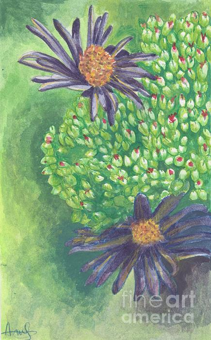Aster Painting - Aster by Acqu Art