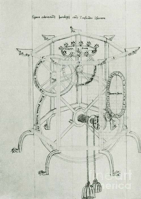 Clock Photograph - Astrarium Sketch By Giovanni De Dondi by Science Source