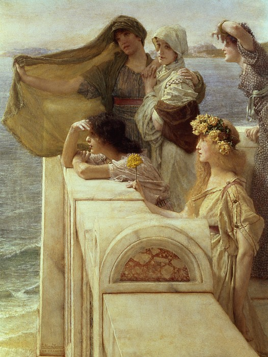 Aphrodite Painting - At Aphrodites Cradle by Sir Lawrence Alma-Tadema