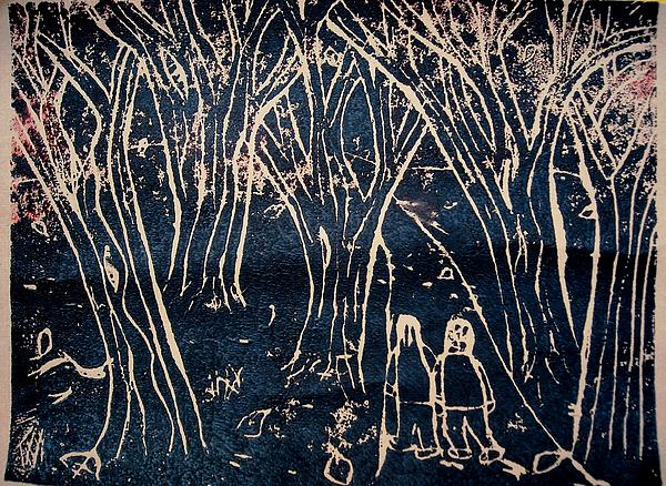 Linoleum Cut Print Relief - Autumn Night Hike by Ward Smith