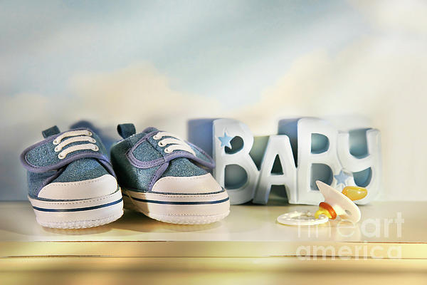 Baby Photograph - Baby Denim Shoes by Sandra Cunningham