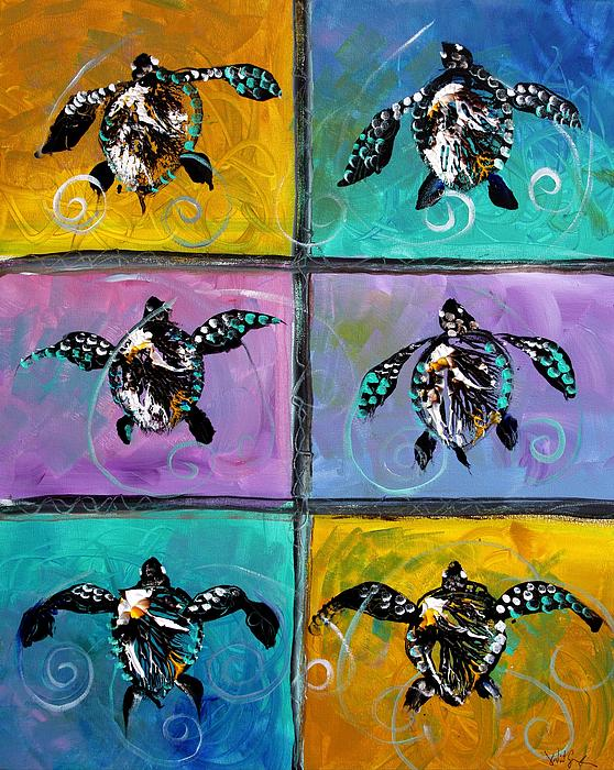 Sea Turtles Painting - Baby Sea Turtles Six by J Vincent Scarpace