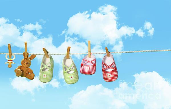 Air Photograph - Baby Shoesr And Teddy Bear On Clothline by Sandra Cunningham