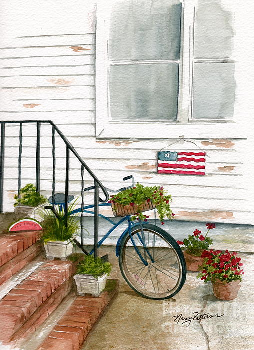 Watercolor Painting - Back Step by Nancy Patterson