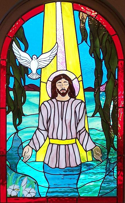 Stained Glass Glass Art - Baptisim Of Jesus Christ by Gladys Espenson