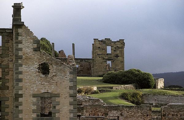 Port Arthur Penal Settlement Tasmania Australia Photograph - Barred Windows And Stone Ruins At Port by Jason Edwards