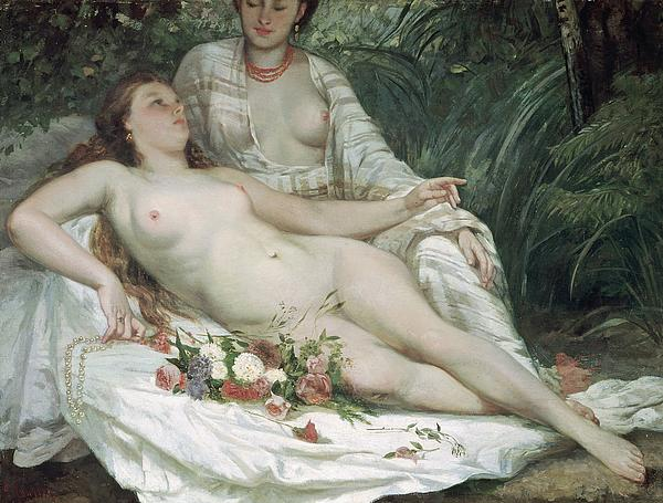 Female; Reclining; Relaxing; Bather; Flowers; Pearl Necklace; Lesbian; Lesbians; Sapphic; Red Hair; Courbet Painting - Bathers Or Two Nude Women by Gustave Courbet