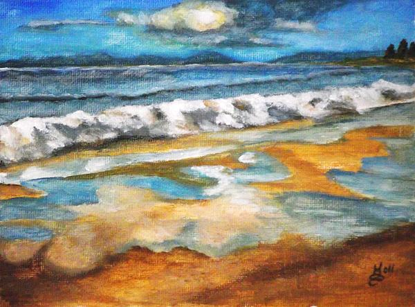 Acrylic Painting Painting - Beach Reflection by Kim Selig