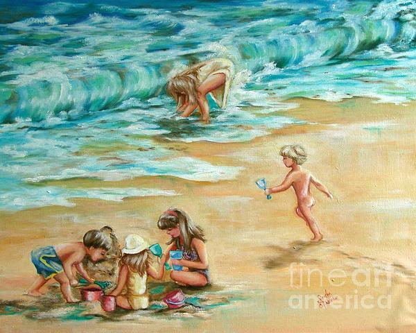 Children Painting - Beach Streaker by Sandra Valentini