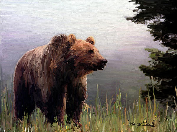 Acrylic Paint Painting - Bear In The Woods by Wayne Pascall