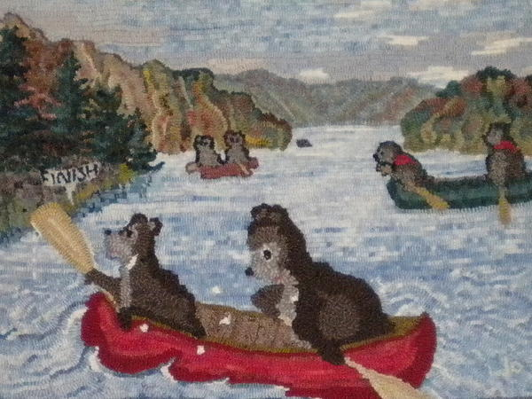 Canoe Painting - Bears In Canoes by Brenda Ticehurst