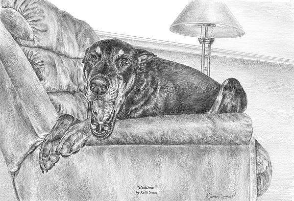 Doberman Drawing - Bedtime - Doberman Pinscher Dog Art Print by Kelli Swan