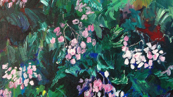 Plein Air Painting Painting - Begonias At Longwood by Carol Mangano