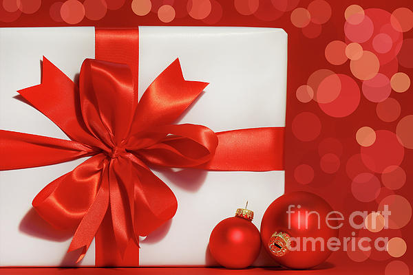 Background Photograph - Big Red Bow On Gift  by Sandra Cunningham