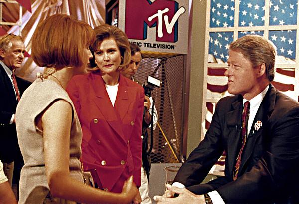 American Flag Photograph - Bill Clinton, Being Interviewed by Everett