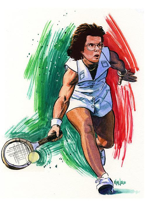 Tennis Painting - Billie Jean King by Ken Meyer