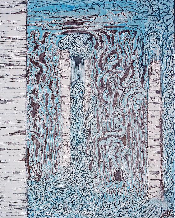 Acrylic Painting - Birch N Blue by Ben Christianson