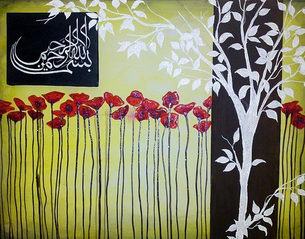 Flowers Painting - Bismillah Poppies by Salwa  Najm