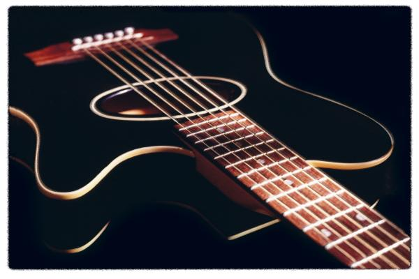 Cherry Photograph - Black Acoustic Guitar by Mike McGlothlen