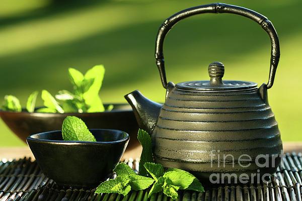 Asia Photograph - Black Asian Teapot With Mint Tea by Sandra Cunningham