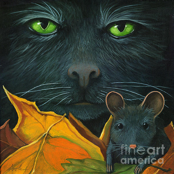 Black Cat Painting - Black Cat And Mouse by Linda Apple