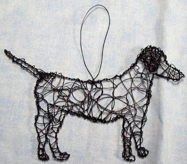 Dog Sculpture - Black Lab Ornament by Charlene White