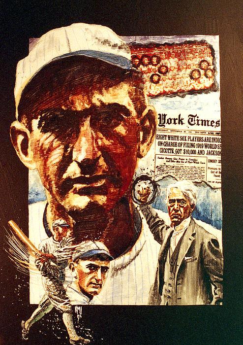 Baseball Painting - Black Sox by Ken Meyer