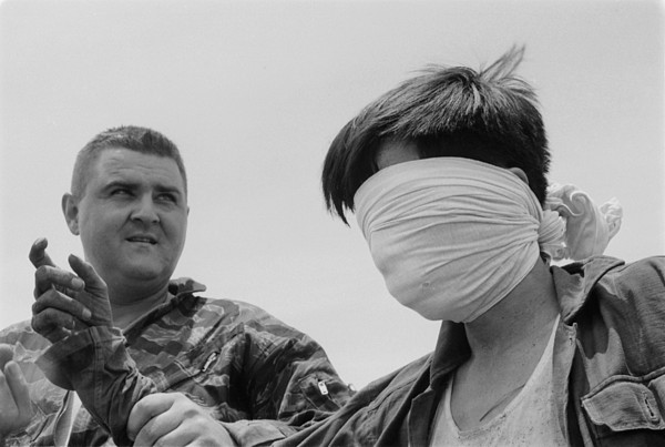 History Photograph - Blindfolded Viet Cong Pow. Us Marine by Everett