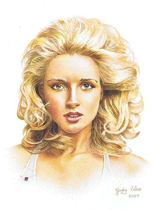 Blonde Hair Drawing By Judy Skaltsounis