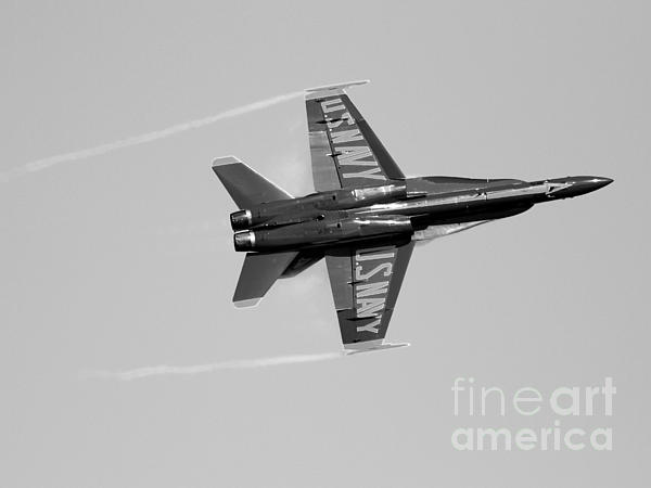 Black And White Photograph - Blue Angels With Wing Vapor . Black And White Photo by Wingsdomain Art and Photography