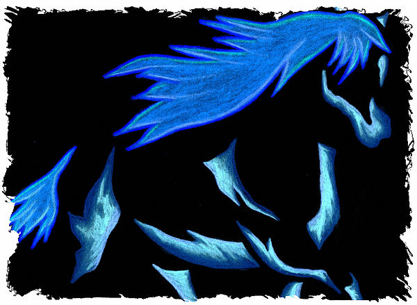 Horse Mixed Media - Blue Ice Flows Over Adobe Dance by Mark Schutter